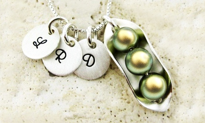 JC Jewelry Design: Peas in a Pod Necklace with Optional Initial Pendants in Sterling Silver