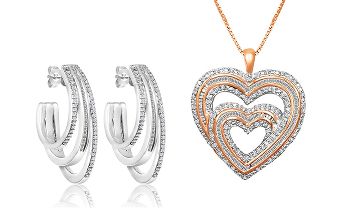 3/4 ct.tw. Diamond Jewelry: 3/4 ct.tw. Diamond Heart Pendant or Earrings.