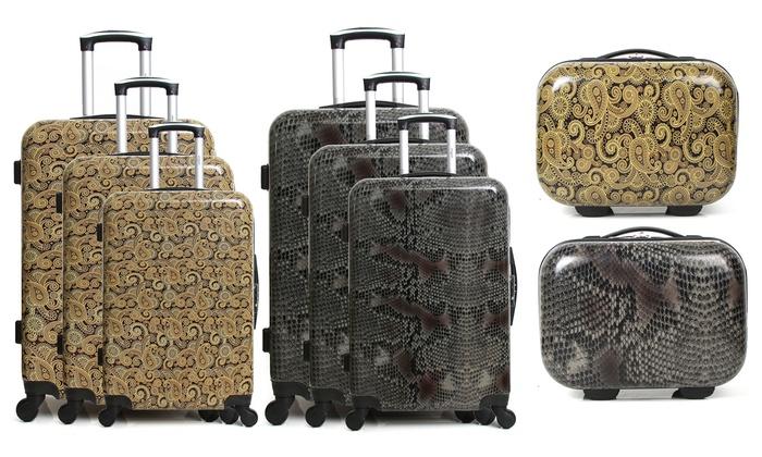 infinitif 3 piece suitcase set groupon goods. Black Bedroom Furniture Sets. Home Design Ideas