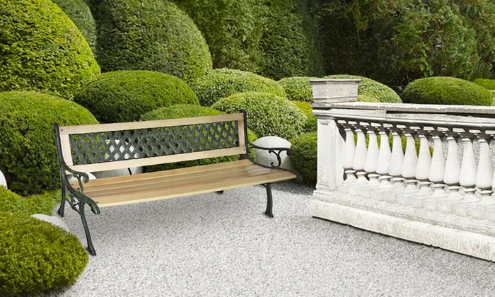 banc de jardin en bois et fonte groupon. Black Bedroom Furniture Sets. Home Design Ideas
