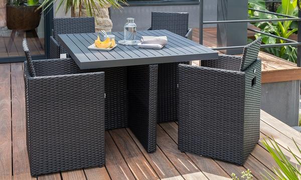 Salon De Jardin Encastrable 4 Personnes En Resine Tressee Avec Plateau Aluminium Livraison Offerte