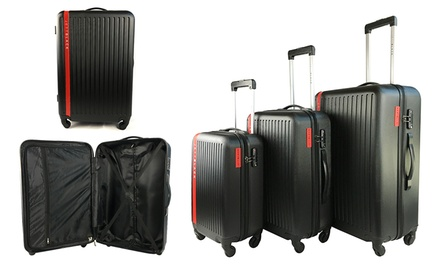 $139 for a ThreePiece Hard Shell Lightweight Jett Black Jetsetter Luggage Set Don't Pay $499