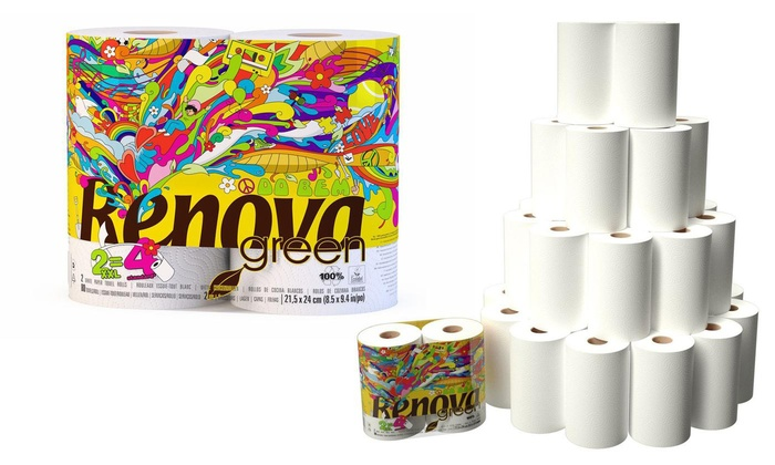18 Rolls of Renova Eco Green Recycled White Kitchen Roll Paper Towels
