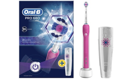Oral B Power Handle Pro 680 Electric Toothbrush with Travel Case and Optional Extra Plug