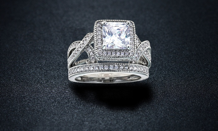 Princess Cut Cubic Zirconia Bridal Ring Set
