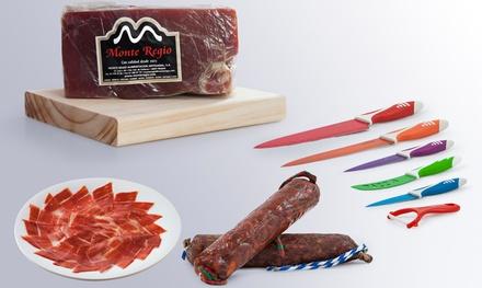 Gourmet serrano - Taco de jamón Serrano más set de cuchillos, más chorizo y salchichón por 26,90 € (75% de descuento)