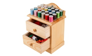 Wooden Sewing Chest And Sewing Kit
