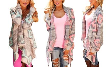 1x oder 2x Damen-Strickjacke mit Azteken-Print in Pink oder / und Grün
