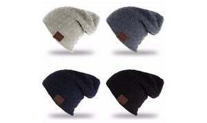 Knitted Velvet Bluetooth Winter Beanie