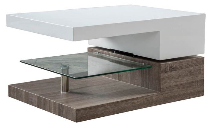 Up To 25% Off On Swivel Coffee Table With Glass | Groupon Goods