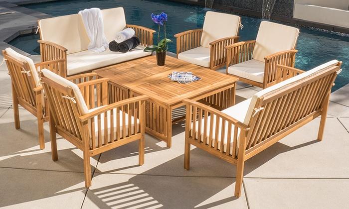 beckley 8piece wood outdoor seating set