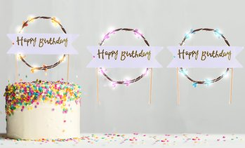 Happy Birthday LED Cake Topper