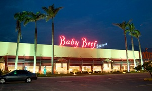 Baby Beef Barra: Rodízio e buffet completo para 1, 2 ou 4 pessoas (opção com sundae) no Baby Beef Barra