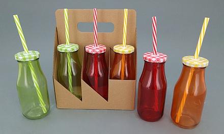 סט 6 בקבוקי זכוכית צבעוניים בעיצוב מיוחד עם מכסה וקשית פלסטיק