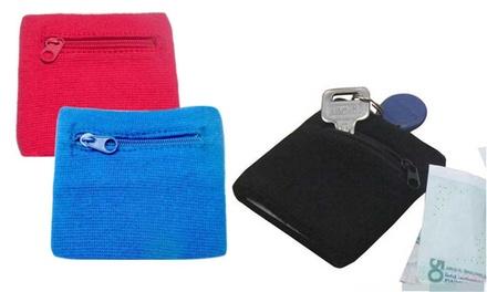 Schweißband mit Reißverschluss-Tasche in Blau, Pink oder Schwarz