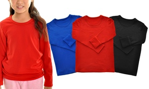 Kids' Fleece-Lined Crew-Neck Long-Sleeve Thermal Top (3-Pack)