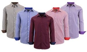 Men's Long Sleeve Slim-Fit Cotton Dress Shirt
