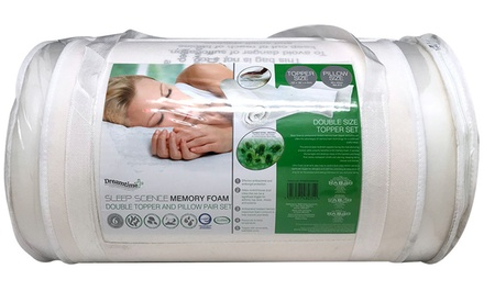 $39 for a Memory Foam Double Mattress Topper with Two Pillows