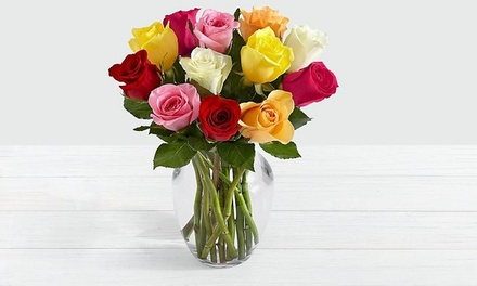 One Dozen Assorted Mother's Day Roses with Glass Vase from ProFlowers (44% Off)