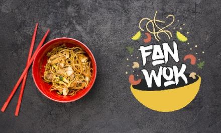 2 woks o menú para 2 personas con wok, bebida y postre (para llevar) en Fan Wok (hasta 49% de descuento)