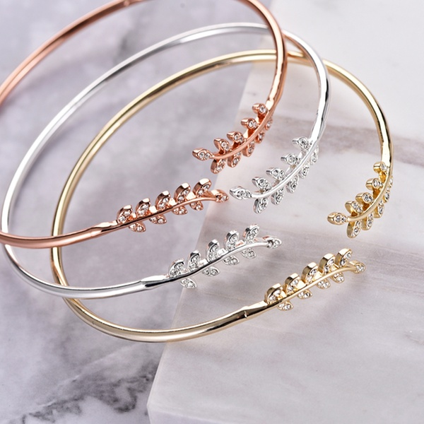 64575a67a331e One, Two or Three Philip Jones Leaf Bangles with Crystals from Swarovski®