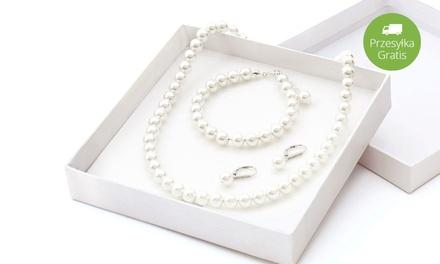 99,99 zł zamiast 1099 zł: 3-częściowy zestaw srebrnej biżuterii z białymi perłami