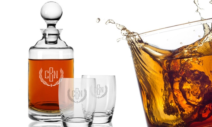 Clink Barware: Monogrammed Crystal Decanter Set with Rocks or Whiskey Glasses from Clink Barware (46% Off)