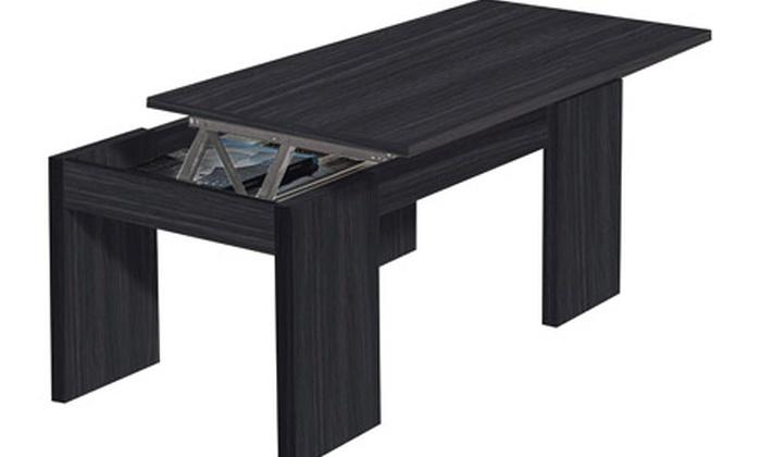 Table basse avec plateau relevable groupon shopping - Kendra table basse grise plateau relevable ...