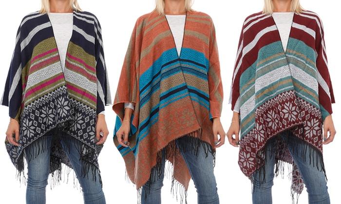 One Size Multicolored Striped Winter Poncho : One Size Multicolored Striped Poncho