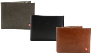 Alpine Swiss Leather RFID-Protected Bifold or Spring Money-Clip Wallet
