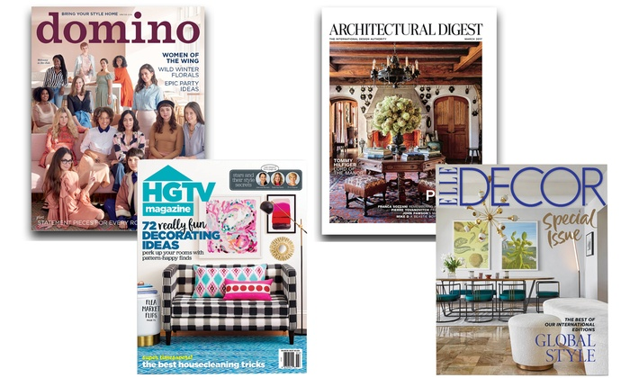 HGTV, ELLE Decor, Domino, and Architectural Digest Magazines