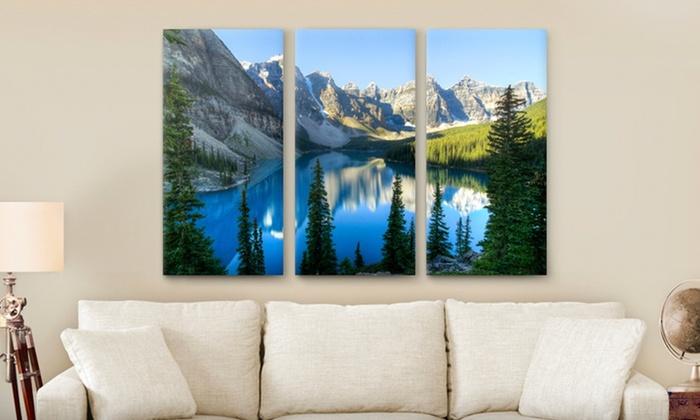"""Custom Triptych PhotoSplit Prints: Custom Triptych PhotoSplit Print from Canvas On Demand; 36""""x24"""" or 45""""x30 Size from $59.99–$79.99"""