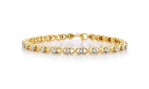 1/2 CTTW Diamond X and O Link Bracelet in Sterling Silver By DeCarat