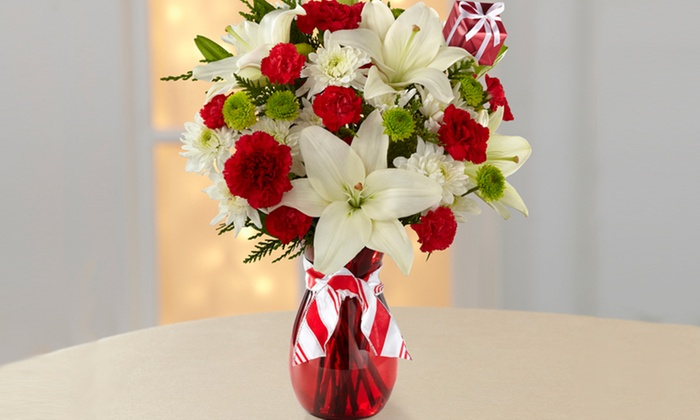 41% Off a Holiday Flower Bouquet and Vase. Shipping Included.