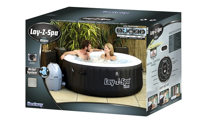miami lay z spa inflatable hot tub groupon goods. Black Bedroom Furniture Sets. Home Design Ideas