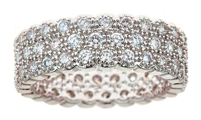 White Gold Plated Brass Eternity Ring with Swarovski Crystals (Delivery  Included)