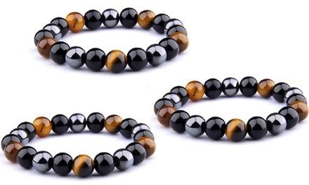 Jusqu'à 4 bracelets magnétique en hématite triple action