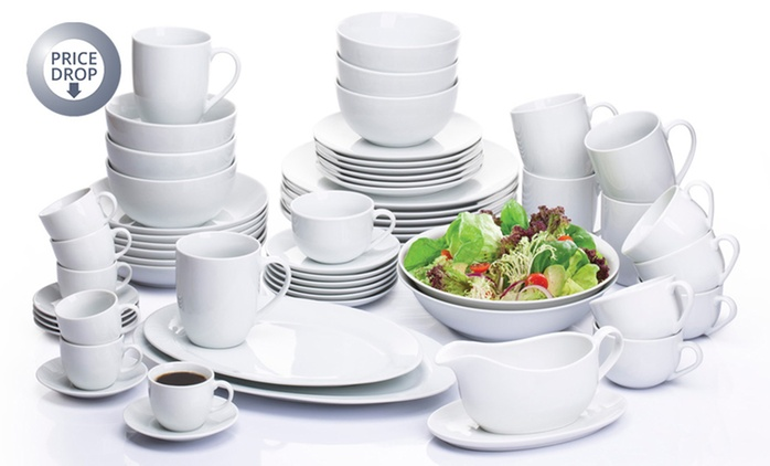 Waterside 60-Piece White Porcelain Coupe Vermount Dinner Set for £49.99 With Free Delivery (55% Off)