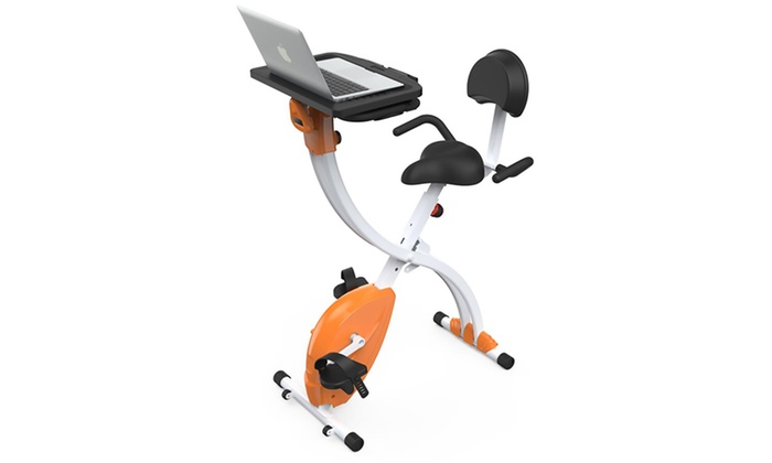 Home-Office Upright Fitness Exercise Bike with Laptop Tray