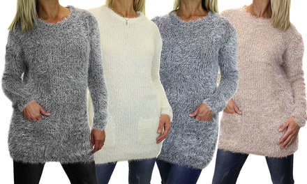 Women's Fluffy Round Neck Jumper in Choice of Colour