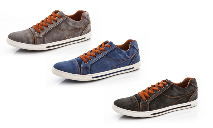 Franco Vanucci Men's Lace-Up Denim Sneakers