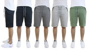 Men's Cotton-Blend Tech-Fleece Shorts with Zipper Pockets (3-Pack)