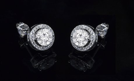Halo Stud Earrings with Swarovski Elements