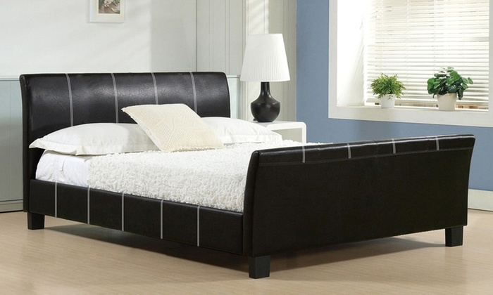 Modern Black Pu Leather Bed Groupon Goods
