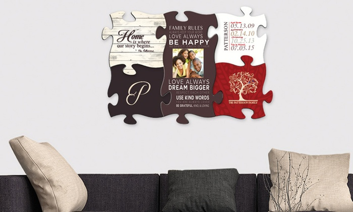custom puzzle piece wall art from monogram online