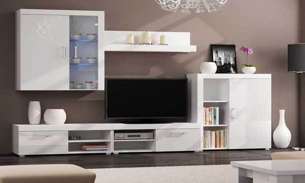 meuble tv murale jusqu 39 77 de r duction groupon. Black Bedroom Furniture Sets. Home Design Ideas