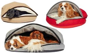 Cozy Felt Sherpa Pet Cave Bed