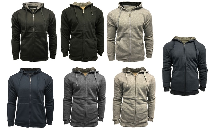 Men's Sherpa- and Fleece-Lined Hooded Sweatshirts (2-Pack)