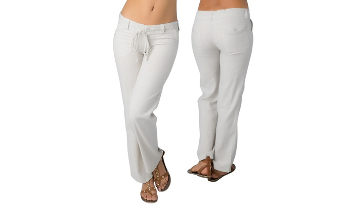 Women's White Linen Pants | Groupon Goods