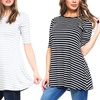 Isaac Liev Women's Striped 3/4-Sleeve A-line Tunic Top
